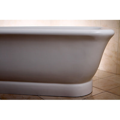 "Kingston Brass Aqua Eden 71"" Contemporary Pedestal Double Ended Acrylic Bath Tub with Drain Freestanding Clawfoot Bathtubs Right Corner Side View in Bathroom"