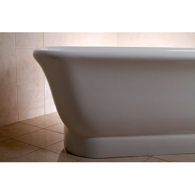 "Kingston Brass Aqua Eden 71"" Contemporary Pedestal Double Ended Acrylic Bath Tub with Drain Freestanding Clawfoot Bathtubs Left Corner Side View in Bathroom"