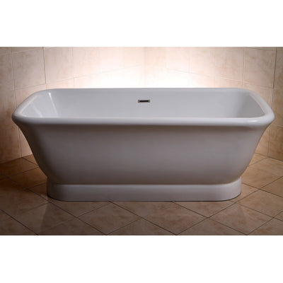 "Kingston Brass Aqua Eden 71"" Contemporary Pedestal Double Ended Acrylic Bath Tub with Drain Freestanding Clawfoot Bathtubs Front View in Bathroom"