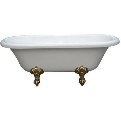 "Kingston Brass Aqua Eden 67"" Double Ended Acrylic Tub Freestanding Clawfoot Bathtubs Polished Brass Front View White Background"