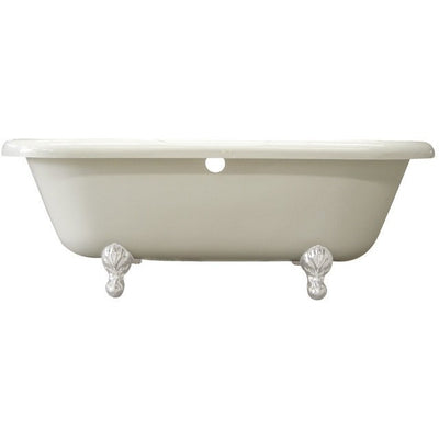 "Kingston Brass Aqua Eden 67"" Double Ended Acrylic Tub Freestanding Clawfoot Bathtubs White Front View White Background"