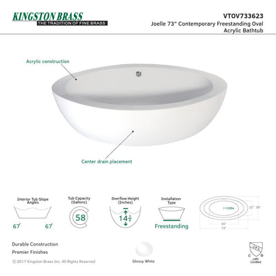 Kingston Brass Aqua Eden VTOV733623 73-Inch Acrylic Double Ended Freestanding Tub with Drain, White