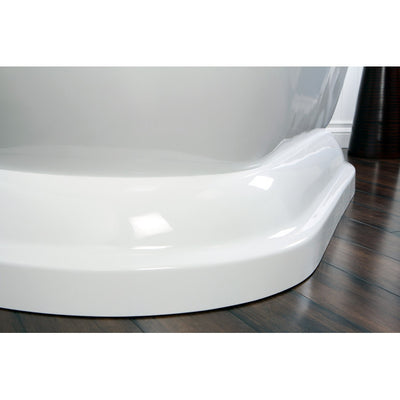 "Kingston Brass Aqua Eden 67"" Contemporary Pedestal Double Ended Acrylic Bath Tub Freestanding Clawfoot Bathtubs Base Corner View on Brown Floor"