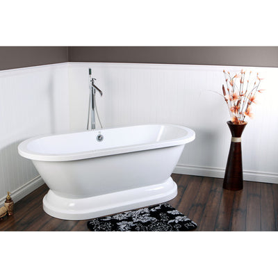 "Kingston Brass Aqua Eden 67"" Contemporary Pedestal Double Ended Acrylic Bath Tub Freestanding Clawfoot Bathtubs Faucet Front View on Brown Floor"