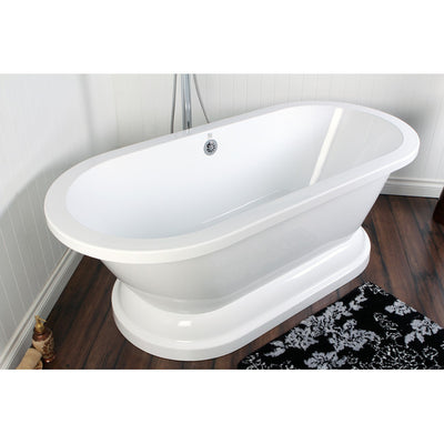 "Kingston Brass Aqua Eden 67"" Contemporary Pedestal Double Ended Acrylic Bath Tub Freestanding Clawfoot Bathtubs Front View on Brown Floor"