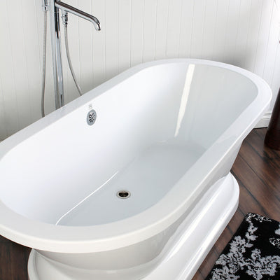 "Kingston Brass Aqua Eden 67"" Contemporary Pedestal Double Ended Acrylic Bath Tub Freestanding Clawfoot Bathtubs Side View on White Floor"