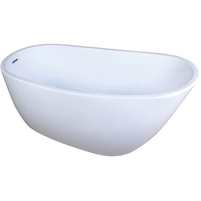 "Kingston Brass Aqua Eden 59"" Contemporary Freestanding Acrylic Bathtub Freestanding Clawfoot Bathtubs Front View White Background"