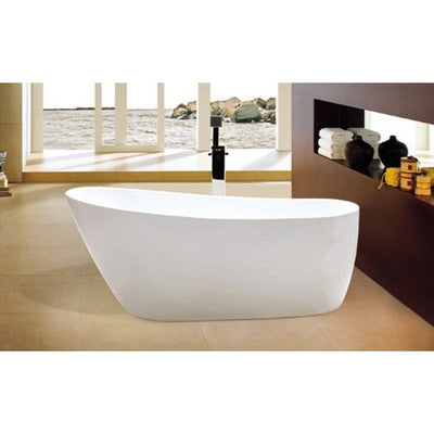 "Kingston Brass Aqua Eden 59"" Contemporary Freestanding Acrylic Bathtub Front View in Bathroom"