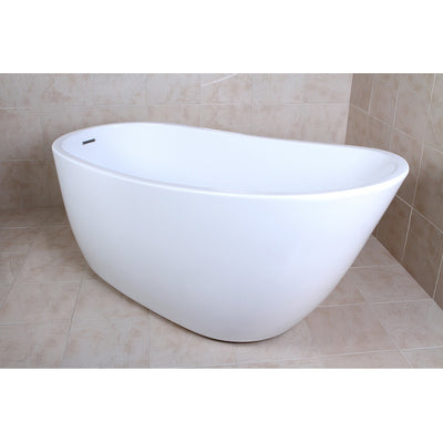 "Kingston Brass Aqua Eden 59"" Contemporary Freestanding Acrylic Bathtub Side View in BAthroom"