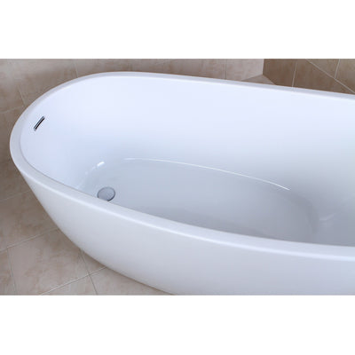 "Kingston Brass Aqua Eden 59"" Contemporary Freestanding Acrylic Bathtub Top Side View in Bathroom"