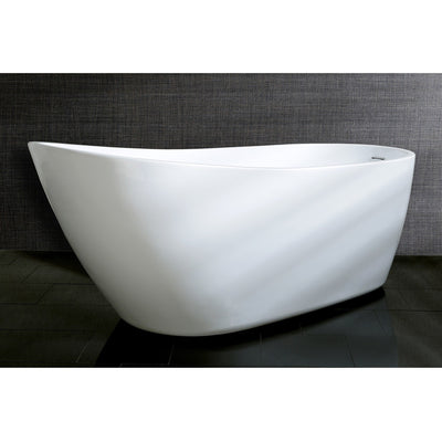 "Kingston Brass Aqua Eden 59"" Contemporary Freestanding Acrylic Bathtub Front View on Black Floor"
