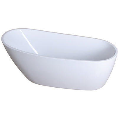 "Kingston Brass Aqua Eden 68"" Contemporary Freestanding Acrylic Bathtub Front View White Background"