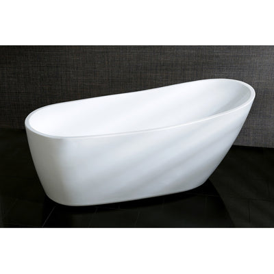 "Kingston Brass Aqua Eden 68"" Contemporary Freestanding Acrylic Bathtub Front View Black Background"
