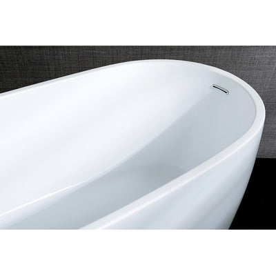 "Kingston Brass Aqua Eden 68"" Contemporary Freestanding Acrylic Bathtub Rear View Black Background"