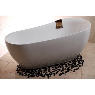 "Kingston Brass Aqua Eden 71"" Contemporary Freestanding Acrylic Slipper Bathtub - Affordable Cheap Freestanding Clawfoot Bathtubs Tub"