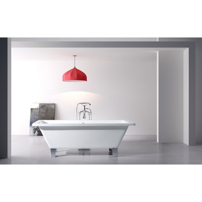 "Kingston Brass Aqua Eden 67"" Acrylic Clawfoot Square Freestanding Tub Polished Chrome Front View White Room"