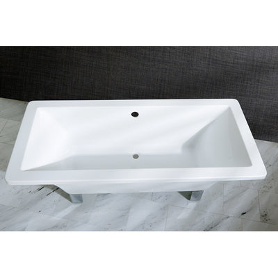 "Kingston Brass Aqua Eden 67"" Acrylic Clawfoot Square Freestanding Tub Polished Top View Black And Silver Background"