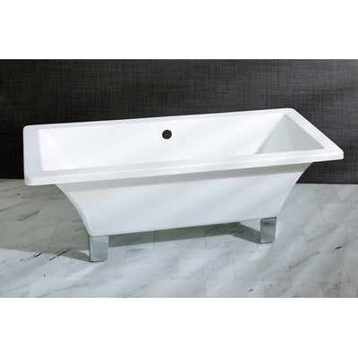 "Kingston Brass Aqua Eden 67"" Acrylic Clawfoot Square Freestanding Tub Polished Chrome Front View Black And Silver Background"