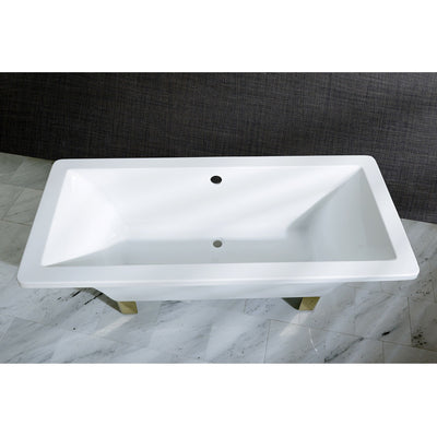 "Kingston Brass Aqua Eden 67"" Acrylic Clawfoot Square Freestanding Tub Polished Polished Brass Top View Black And Silver Background"