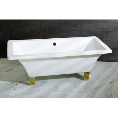 "Kingston Brass Aqua Eden 67"" Acrylic Clawfoot Square Freestanding Tub Polished Brass Front View Black And Silver Background"