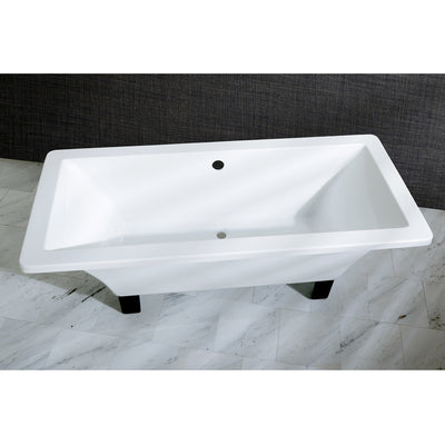 "Kingston Brass Aqua Eden 67"" Acrylic Clawfoot Square Freestanding Tub Oil Rubbed Bronze Top View Black And Silver Background"