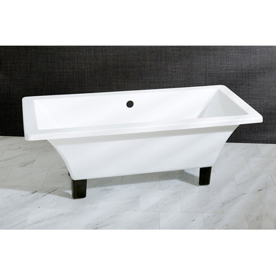"Kingston Brass Aqua Eden 67"" Acrylic Clawfoot Square Freestanding Tub Oil Rubbed Bronze Front View Black And Silver Background"