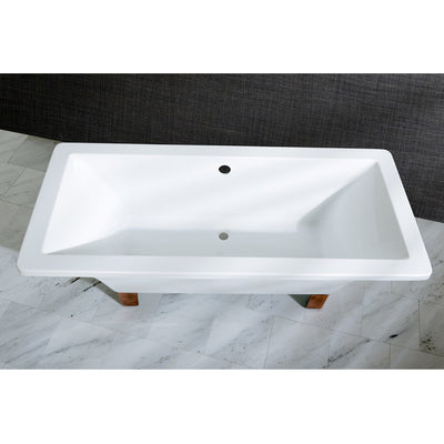 "Kingston Brass Aqua Eden 67"" Acrylic Clawfoot Square Tub - Affordable Cheap Freestanding Clawfoot Bathtubs Tub"