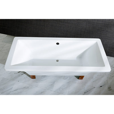 "Kingston Brass Aqua Eden 67"" Acrylic Clawfoot Square Freestanding Tub - VTSQ673018A"