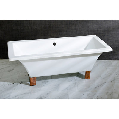"Kingston Brass Aqua Eden 67"" Acrylic Clawfoot Square Freestanding Tub Napel Bronze Front View Black And Silver Background"
