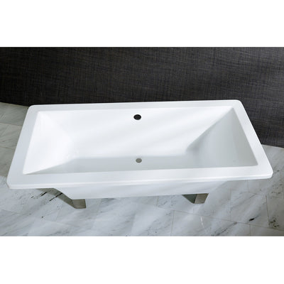 "Kingston Brass Aqua Eden 67"" Acrylic Clawfoot Square Freestanding Tub Satin Nickel Top View Black And Silver Background"