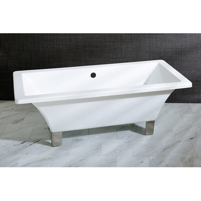 "Kingston Brass Aqua Eden 67"" Acrylic Clawfoot Square Freestanding Tub Satin Nickel Front View Black And Silver Background"