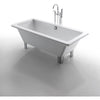 "Kingston Brass Aqua Eden 71"" Acrylic Clawfoot Square Tub Freestanding Bathtubs Front View White Background"
