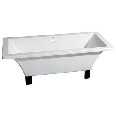 "Kingston Brass Aqua Eden 71"" Acrylic Clawfoot Square Tub Freestanding BathtubsOil Rubbed Bronze Front View White Background"