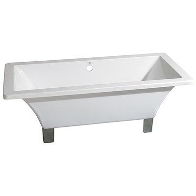"Kingston Brass Aqua Eden 71"" Acrylic Clawfoot Square Tub Freestanding Bathtubs Satin Nickel Front View White Background"