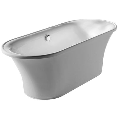 Whitehaus Collection WHBL175BATH Oval Double Side Freestanding Acrylic Soaking Bathtub - Affordable Cheap Freestanding Clawfoot Bathtubs Tub