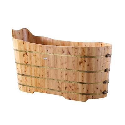 "Alfi Brand AB1103 59"", Premium Freestanding Cedar Wooden Bathtub with Bench"
