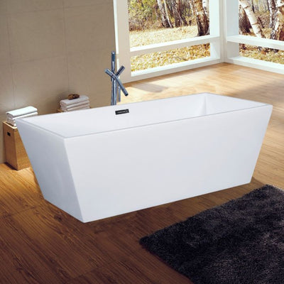 AB8833 59 Inch White Rectangular Free Standing Soaking Bathtub