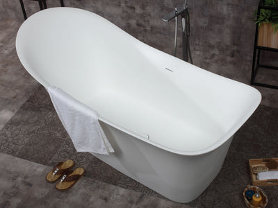 "ALFI Brand AB9915 74"" White Solid Surface Smooth Resin Soaking Slipper Bathtub"