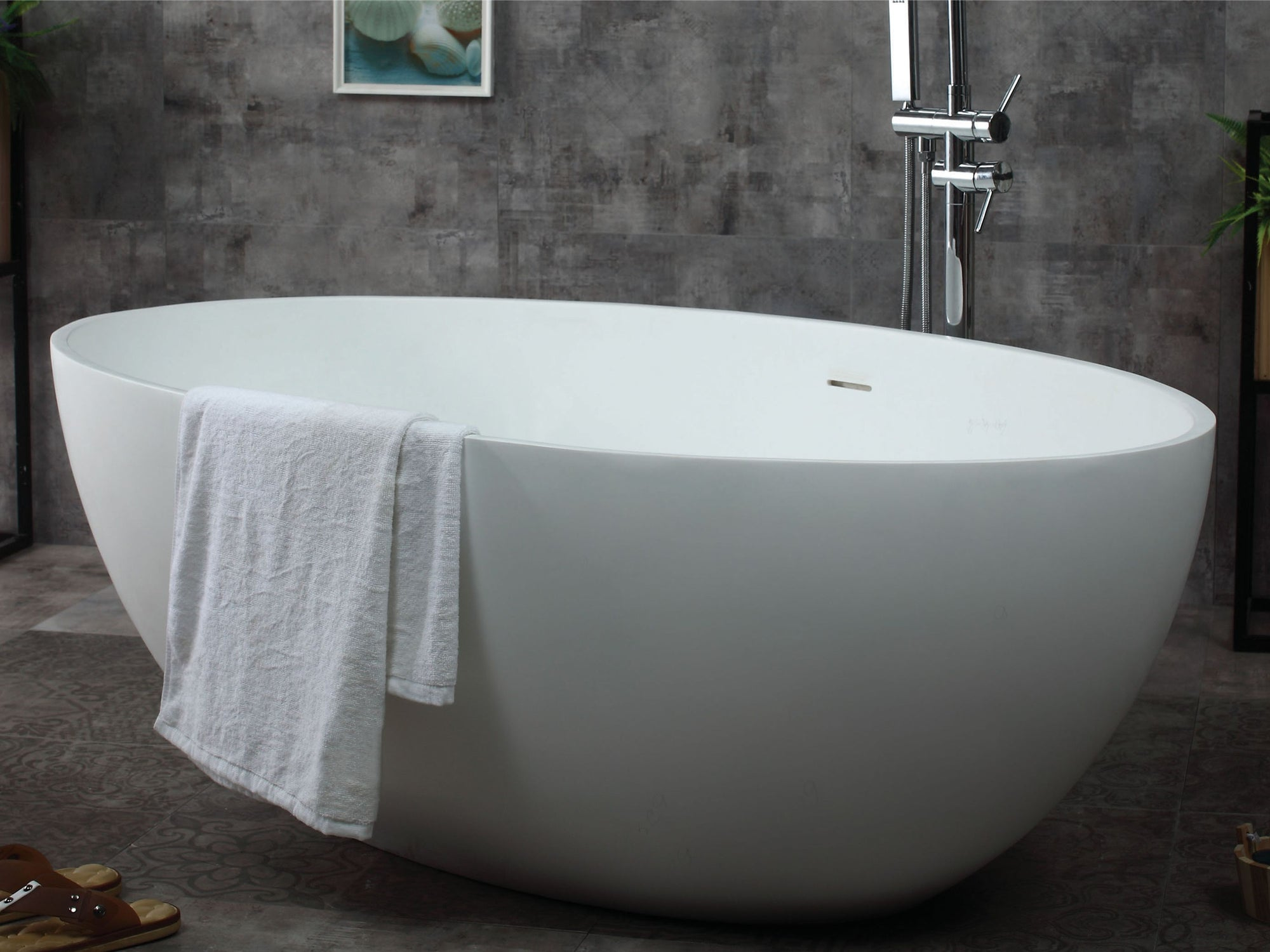 Alfi Brand Ab9941 67 White Oval Solid Surface Smooth Resin