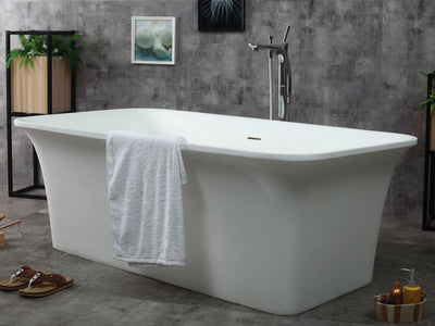 "ALFI Brand AB9942 67"" White Rectangular Solid Surface Smooth Resin Soaking Bathtub"