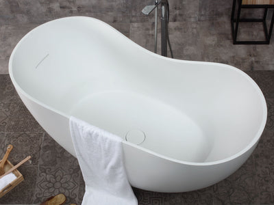 "ALFI Brand AB9949 66"" White Solid Surface Smooth Resin Soaking Bathtub Top View"