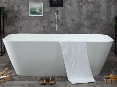 "ALFI Brand AB9952 67"" White Rectangular Solid Surface Smooth Resin Soaking Bathtub"