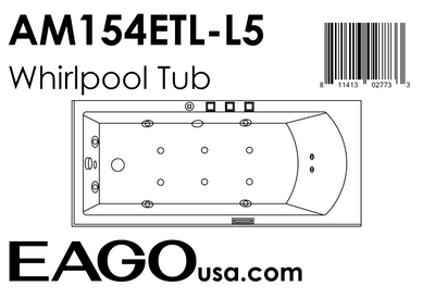 EAGO AM154ETL-L5 5 ft Acrylic White Rectangular Whirlpool Bathtub w Fixtures