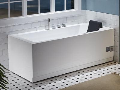 EAGO AM154ETL-L6 6 ft Acrylic White Rectangular Whirlpool Tub With Fixtures