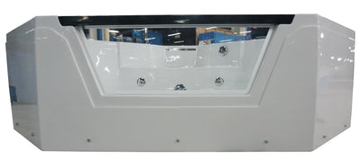 EAGO AM156ETL 5 ft Clear Corner Acrylic Whirlpool Bathtub for Two front view