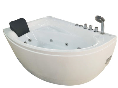 "EAGO AM161-R 59"" Single Person Corner White Acrylic Whirlpool Bathtub"