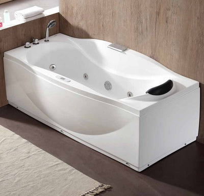 EAGO AM189ETL-L 6 ft Left Drain Acrylic White Whirlpool Bathtub with Fixtures Front View in Bathroom