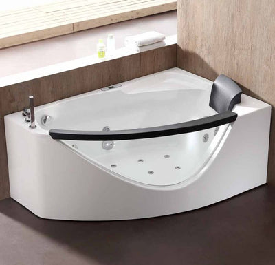 EAGO AM198-L 5' Left Drain Rounded Clear Modern Corner Whirlpool Freestanding Bathtubs Front View in Bathroom