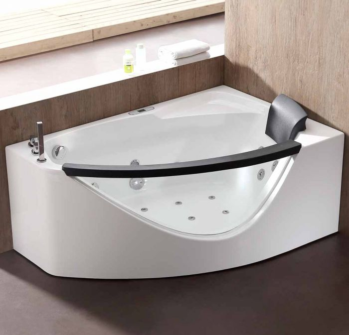 EAGO AM198 L 5u0027 Left Drain Rounded Clear Modern Corner Whirlpool  Freestanding Bathtubs Front