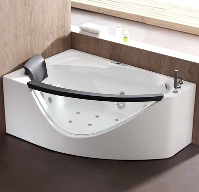 EAGO AM198-R 5' Right Drain Rounded Clear Modern Corner Whirlpool Freestanding Bathtubs Front View in Bathroom